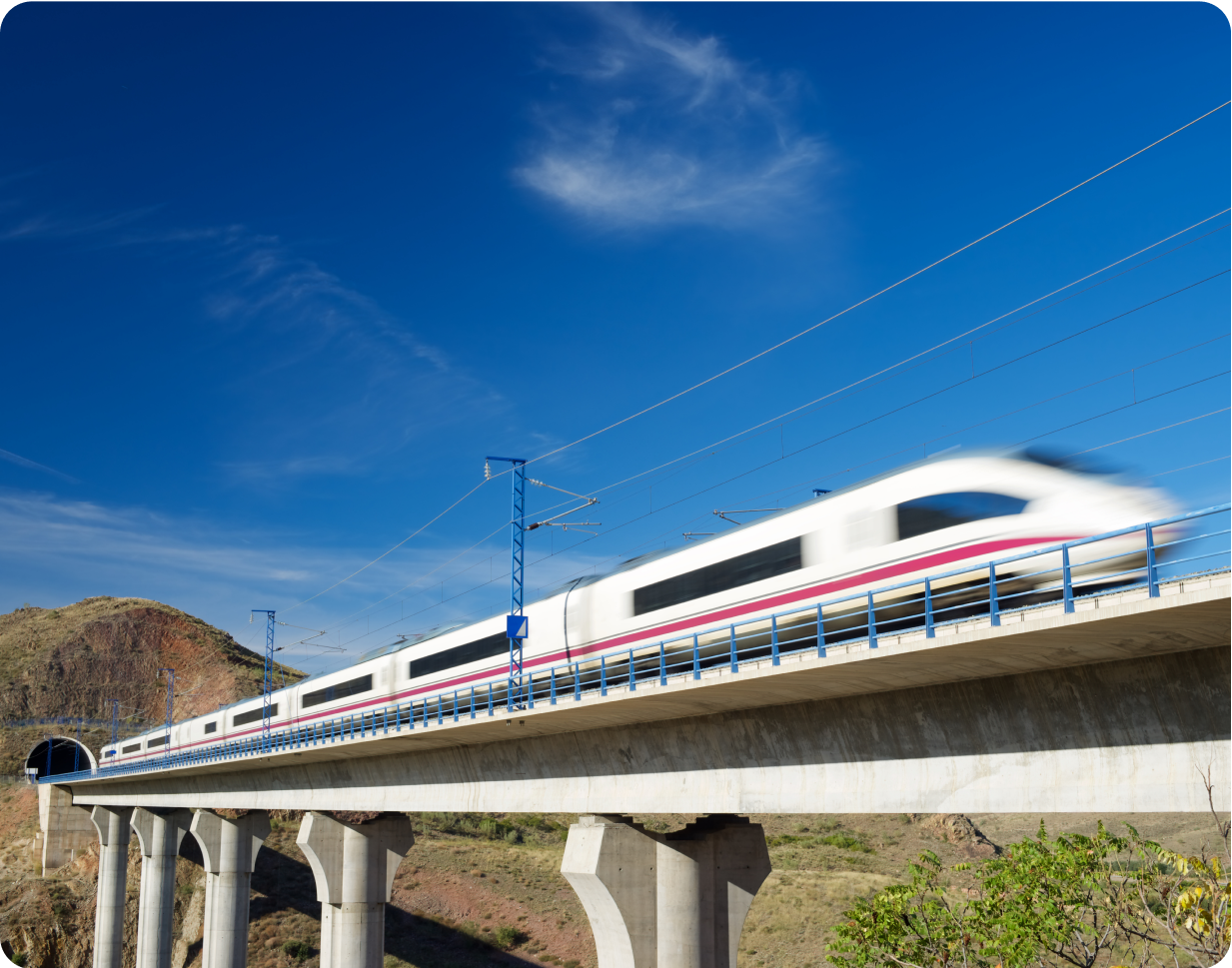 High-speed train entering a tunnel