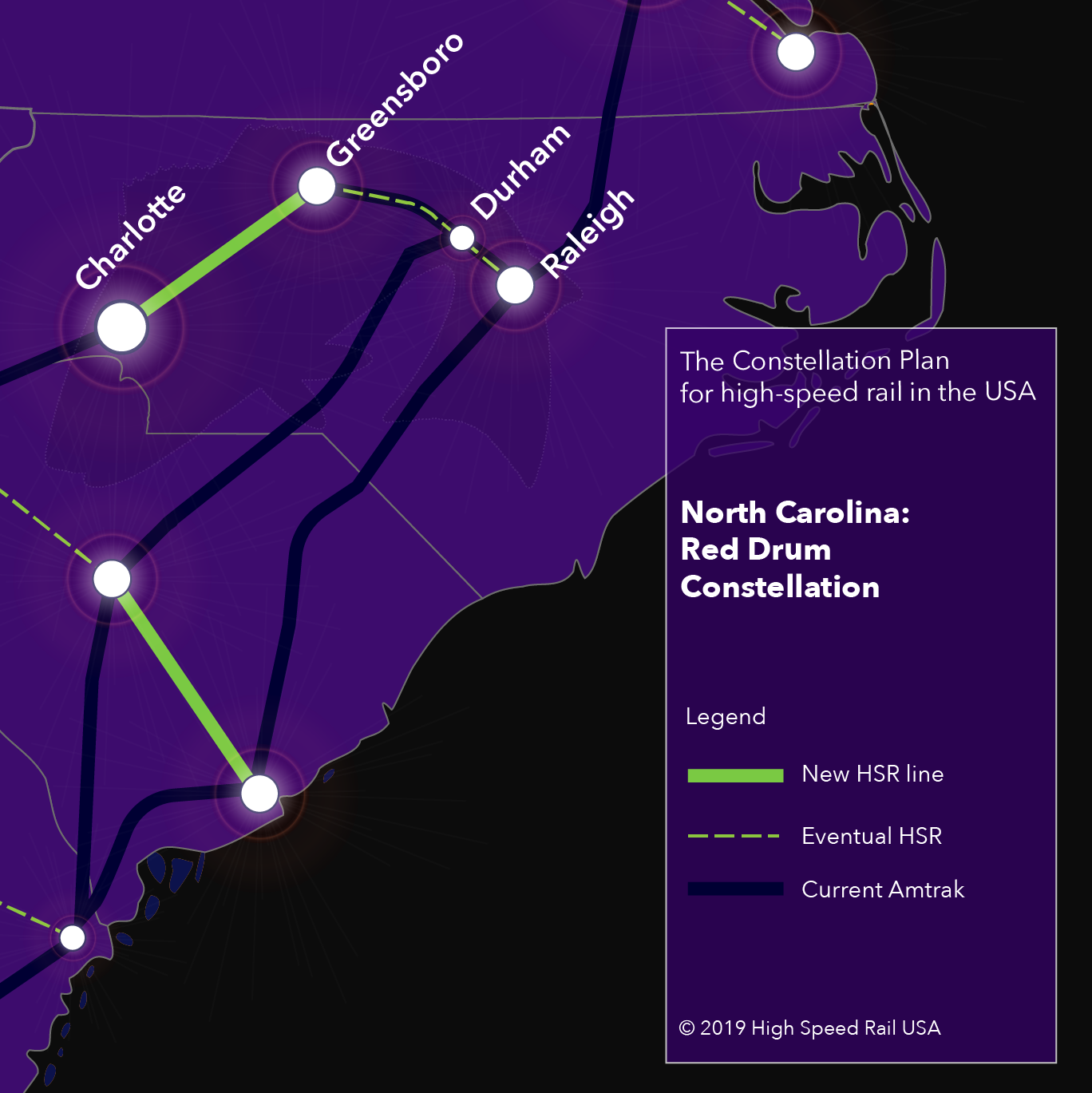 North Carolina - The Red Drum Constellation for high-speed rail